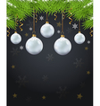 Green fir branch and white decoration vector image