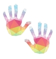 colorful hand prints poligonal art vector image vector image