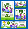 spring sale flowers poster banner template vector image