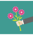 Businessman hand holding bouquet of three pink vector image