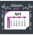 calendar april 2017 template icon vector image