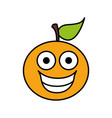 color kawaii fruit orange happy icon vector image