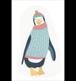 funny clumsy penguin cartoon character flat design vector image