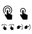 hand touch set icon in black color vector image