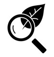 magnifier glass with leaf - biology icon vector image