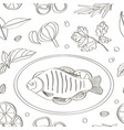 spices for cooking fish pattern vector image