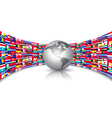 World Flags Background With A Globe vector image