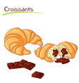 croissants with chocolate vector image