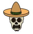 mexican mariachi skull character vector image