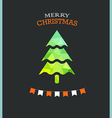 Christmas greeting card with green pine vector image