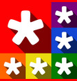 asterisk star sign set of icons with flat vector image