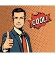 Cartoon businessman and bubble speech thumb up vector image