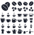 coffee icons silhouette vector image