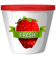 Fresh strawberry in plastic cup vector image