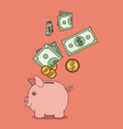 light salmon color background with moneybox with vector image