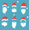 Santa hats moustache and beards vector image