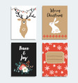 set of hand drawn christmas greeting cards vector image