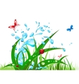 splash water and grass vector image