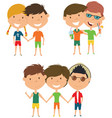 summer people standing and holding hands vector image