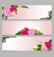 three rectangle banner with pink roses vector image