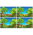 Scenes with animals in the garden vector image vector image