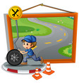 mechanic rolling wheel on the road vector image