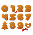 Set of numbers in shape of Christmas gingerbreads vector image