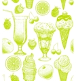 background with ice cream and fruits vector image
