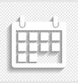 calendar sign white icon vector image