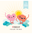 Heart and brain cartoon character holding hands vector image