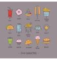 Food characters gray vector image vector image
