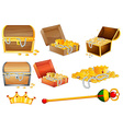 Treassure chests and golden objects vector image