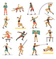 high jump athlete sport woman athletics characters vector image