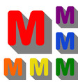 letter m sign design template element set of red vector image