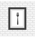 Photo frame on white brick wall vector image