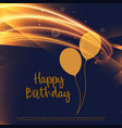 shiny golden happy birthday card design with vector image