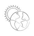 world planet earth with sun vector image