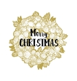 Xmas golden wreath and greetings vector image