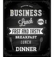 Restaurant Poster on Chalk Board vector image