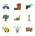 gardening icons set cartoon style vector image