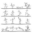 hand drawing cartoon soccer sets vector image