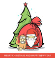 Monkey with Santa Claus fir-tree bag in doodle vector image