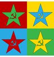 Pop art communism star icons vector image