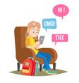 teen girl  happy girl talking chatting on vector image