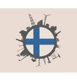 Circle with industrial silhouettes Finland flag vector image