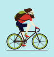 bicycle delivery messenger bearded male character vector image