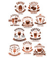 icons coffee set for cafeteria or cafe vector image vector image