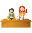 father and mother having meal on the table vector image