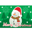 Merry Christmas Snowman Greeting Card vector image