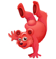 A red bear doing a handstand vector image